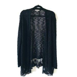 Umgee Long Sleeves Black Lace Bottom Cardigan